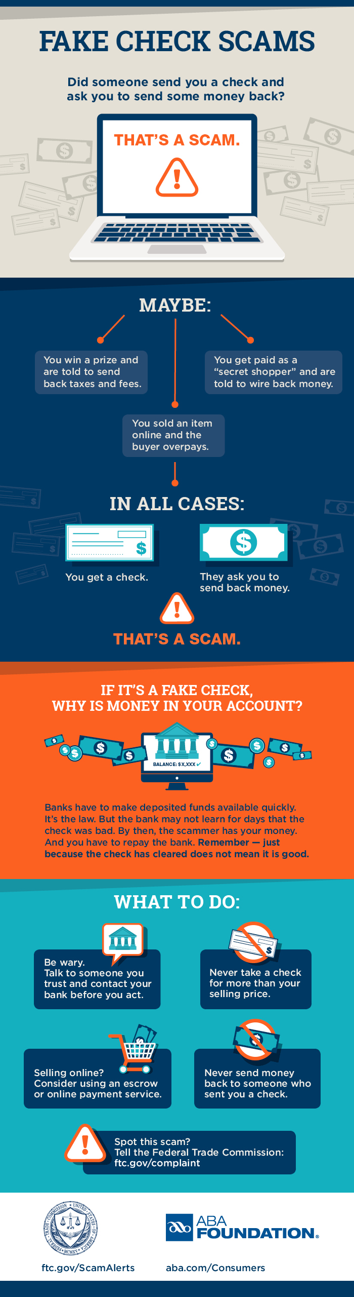Infographic on Fake Check Scams